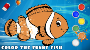 Toddler learning fishing games - fish coloring books